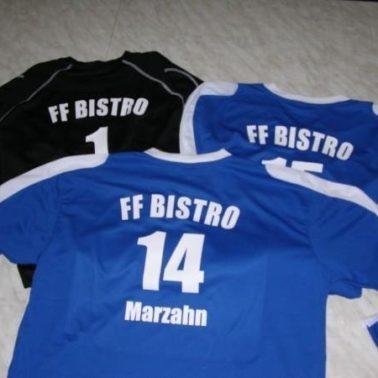 Textildruck auf Trikot für den FFC BISTRO MARZAHN mit Flexfolie