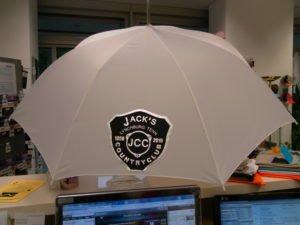 Regenschirm bedruckt mit Flexfolie in silber und schwarz